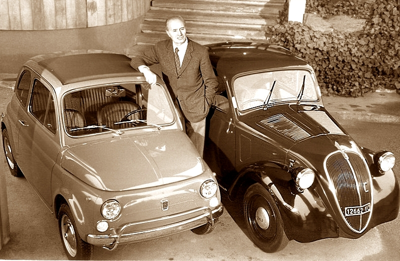 ダンテ・ジャコーザとフィアット500トポリーノ&ヌオーバ・チンクエチェント