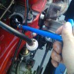 旧チンクのスパークプラグ交換とキャブレターのアイドリング調整。レギュラーガソリン試験。